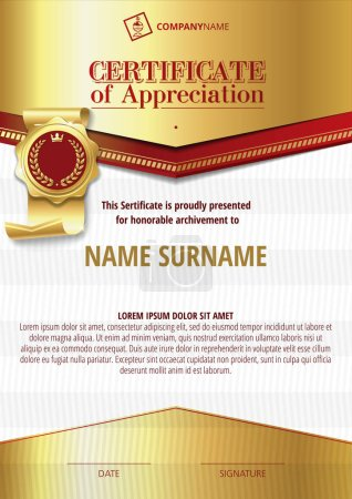 Template of Certificate of Appreciation with golden badge and silver and golden elements