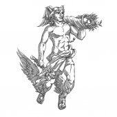 Flying god Hermes with caduceus and cornucopia in engraving style Vector illustration
