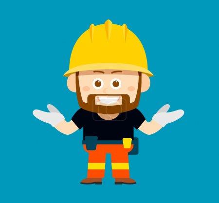 cartoon character of worker