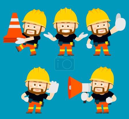 cartoon character of worker,builder set