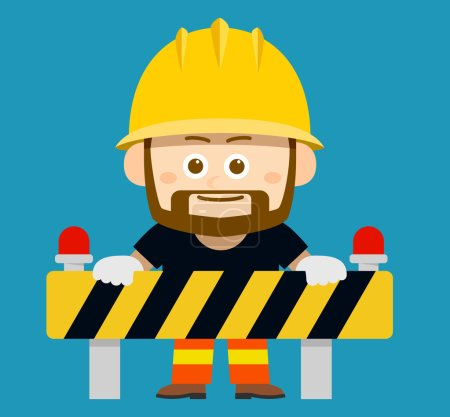 Illustration pour Illustration vectorielle - personnage de dessin animé du travailleur, constructeur - image libre de droit