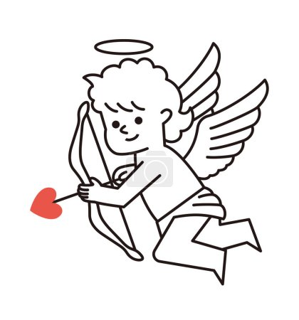 Illustration pour Joyeuse Saint-Valentin. Cupidon avec un arc et une flèche. Illustration vectorielle . - image libre de droit