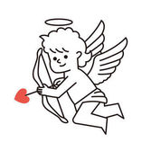 Happy Valentines Day Cupid with a bow and an arrow Vector illustration