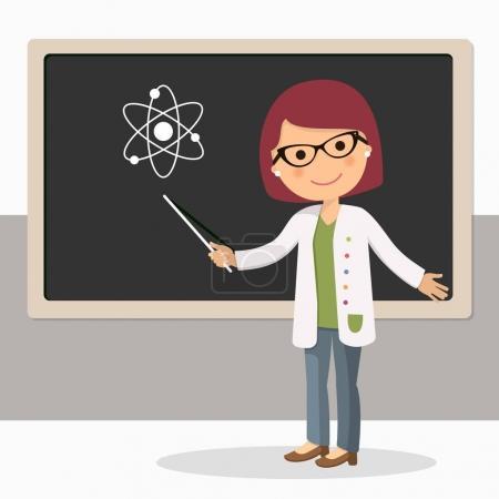 Illustration pour Jeune enseignante en cours de sciences au tableau noir en classe. Professeur avec pointeur, enseignant montrant à bord. Illustration vectorielle - image libre de droit