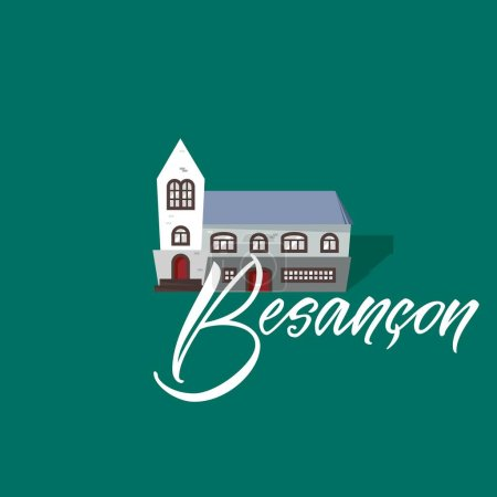 Besancon and castle. France city hand drawn vector lettering. Modern calligraphy brush lettering. Ink lettering.