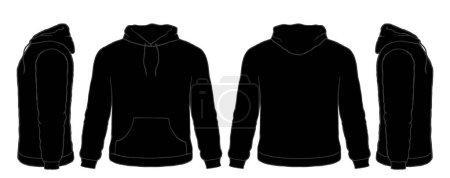 Black Hoodie Sweatshirt Vector Set, Front, Side, Back Views