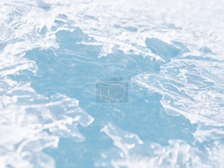 Close view of frozen water with cracks