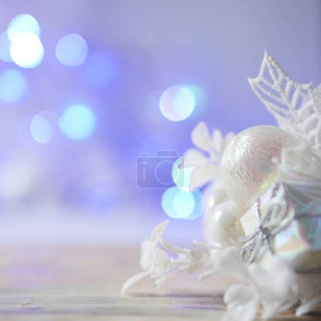 Christmas-tree decoration with bokeh blurred lights from flare garlands