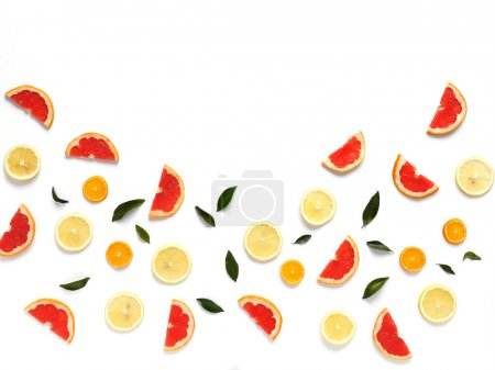close-up photo of fresh citrus set on white table background