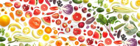 Beautiful gradient flat lay with lots of vegetables and fruits