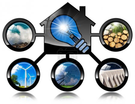 Renewable Resources - 3D illustration of a model h...