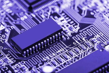 Photo for Details motherboards of personal computers on a table close-up - Royalty Free Image