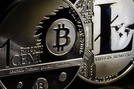 silver coins of a digital crypto currencies litecoin and bitcoin