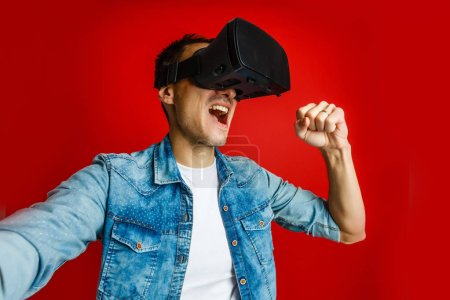 Photo for Man wearing virtual reality glasses - Royalty Free Image