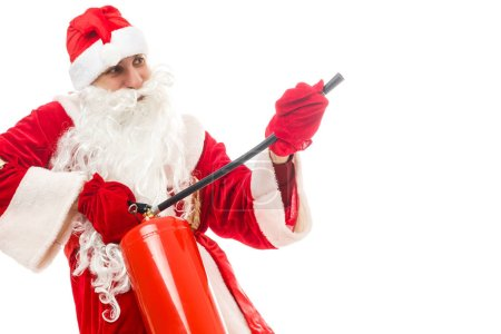 Photo for Christmas man in santa clothes with fire extinguisher standing against isolated on white background - Royalty Free Image