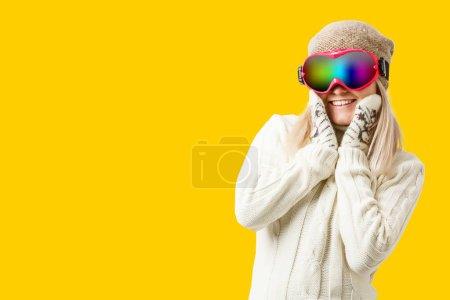 Photo pour Woman Skier in glasses - image libre de droit