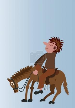 Illustration pour Homme monte son cheval - image libre de droit