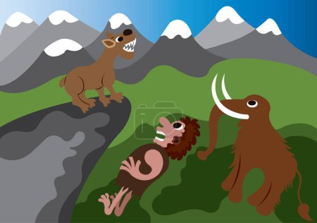 Illustration for Prehistoric Peoples and creatures, The Woolly Mammoth, Saber toothed Cat and the Neanderthals - Royalty Free Image