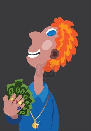 Illustration pour Un enfant super riche lance sa richesse - image libre de droit