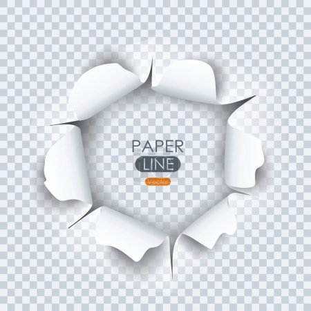 Paper sheet with ragged hole for your design.