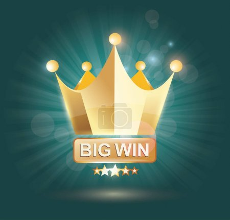 Big Win gold sign for online casino, poker, roulette, slot machi