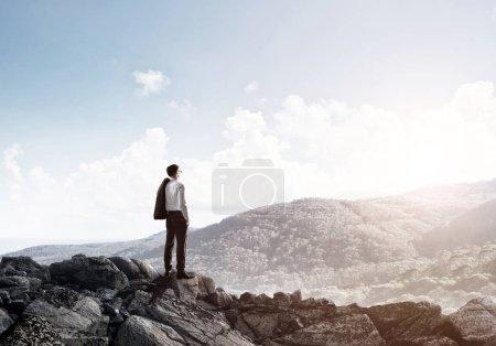 Achieving top of success concept