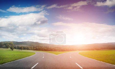 Asphalt crossroad image