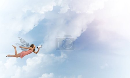 Woman with megaphone flying