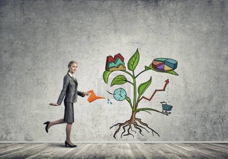 businesswoman presenting investment