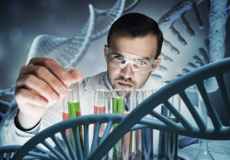 Photo for Handsome scientist making research over dna molecule structure - Royalty Free Image