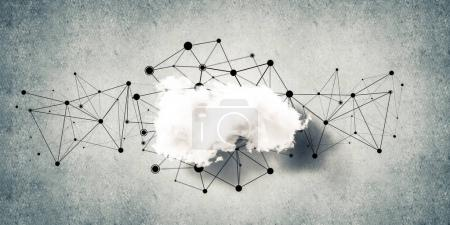 cloud computing connection concept on concrete wall