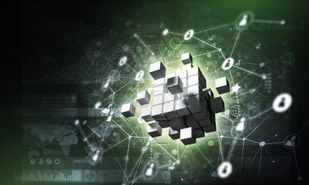 digital cube figure and social connection lines on dark background, Concept of Internet and networking, 3d rendering