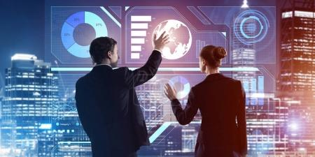 business people working with virtual screen