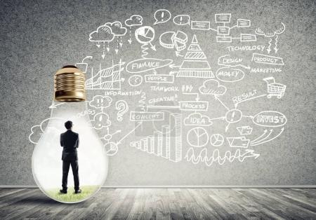 Businessman inside of light bulb