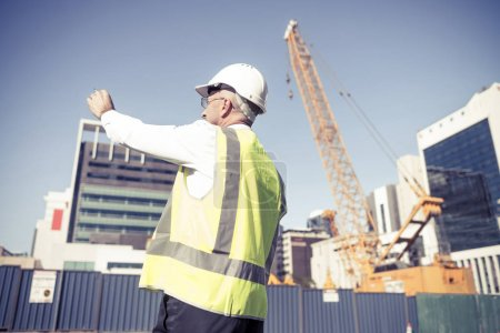 man controlling outdoor construction site