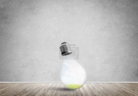 Glass light bulb in empty room.