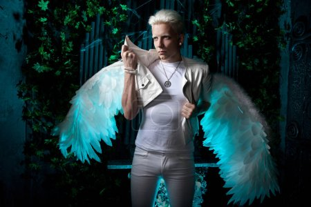 White Albino Angel With Big Wings