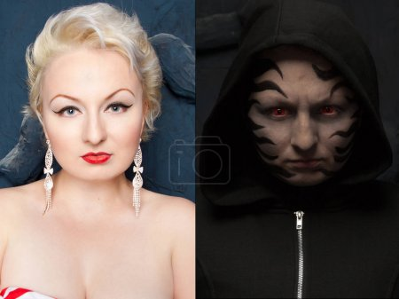 halloween scary and pin up pretty make up before and after comparison