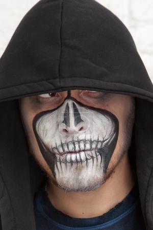dead skull halloween male make up portrait