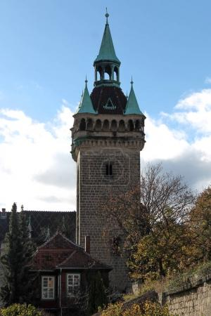 old tower near half-timbered buildings