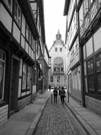 Pedestrians on narrow street