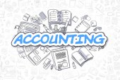 Accounting - Cartoon Blue Word. Business Concept.