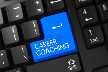 Keyboard with Blue Key - Career Coaching. 3D.