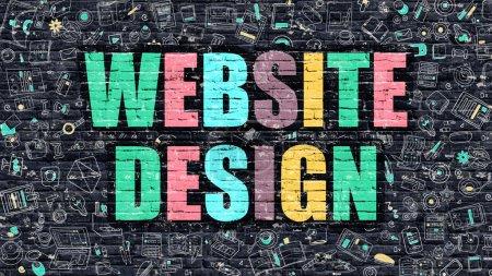 Website Design in Multicolor. Doodle Design.