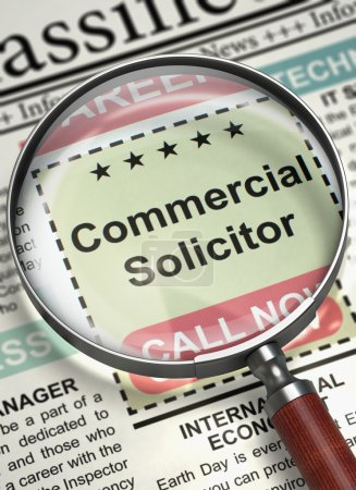 Photo for Commercial Solicitor - CloseUp View Of A Classifieds Through Magnifier. Newspaper with Vacancy Commercial Solicitor. Concept of Recruitment. Blurred Image with Selective focus. 3D. - Royalty Free Image