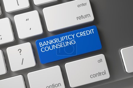 Keyboard with Blue Button - Bankruptcy Credit Counseling. 3D.