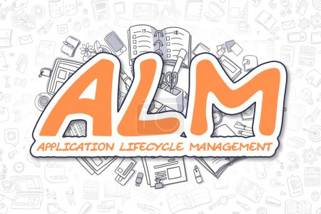 ALM - Texte orange bande dessinée. Concept d'entreprise .
