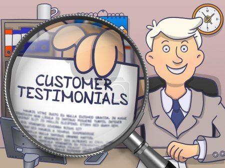 Photo for Officeman Shows Text on Paper Customer Testimonials. Closeup View through Lens. Colored Doodle Style Illustration. - Royalty Free Image