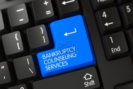 Blue Bankruptcy Counseling Services Key on Keyboard. 3D.