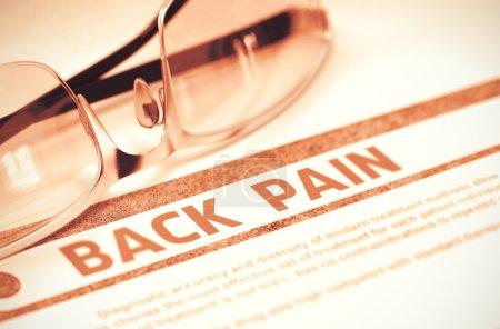 Diagnosis - Back Pain. Medical Concept. 3D Illustration.